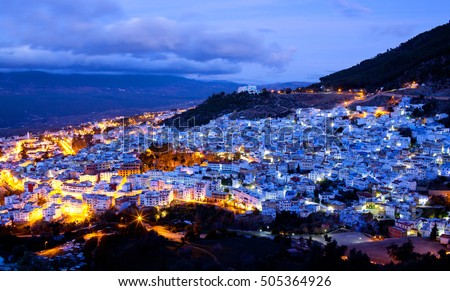 Panorama of Chefchaouen blue medina at twilight in Morocco, North Africa