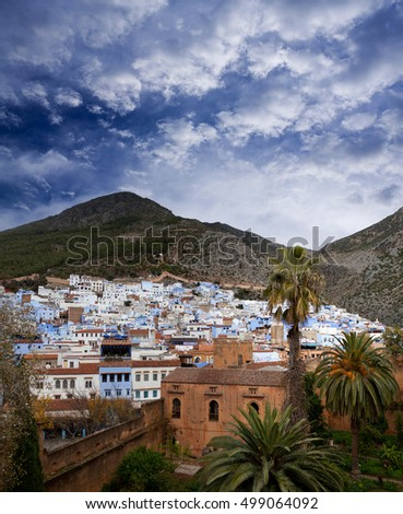 Panorama of Chefchaouen Medina in Morocco, North Africa