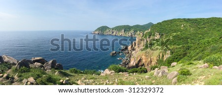 Panorama of China sea coastline in Hong Kong island.
