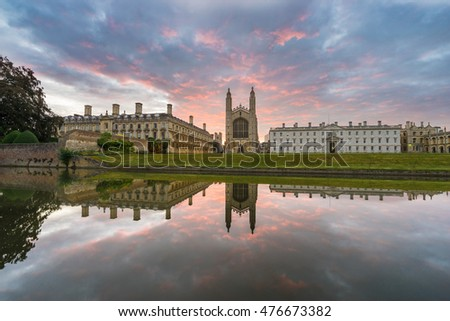 Panorama of Clare College with beautiful sky at sunrise in Cambridge, UK
