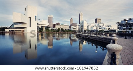 Panorama of Cleveland seen from the lake front. - stock photo