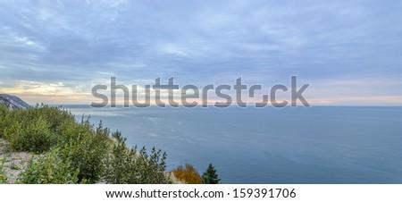 Panorama of  Coastal Scene on the Cabot Trail at dawn (Cape Breton, Nova Scotia, Canada) - stock photo