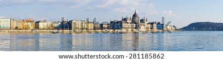 Panorama of Danube and Parliament in Budapest - Hungary - stock photo