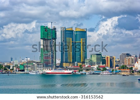 Panorama of Dar Es Salaam City Centre with waterfront and ships - stock photo