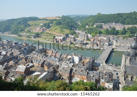 panorama of Dinant - beautiful city in Wallonie, Belgium view from high hill