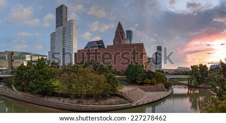 Panorama of Downtown Houston Skyline Theater District - Houston Texas - stock photo