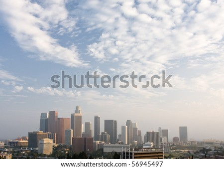 Panorama of downtown Los Angeles with cloudy sky - stock photo