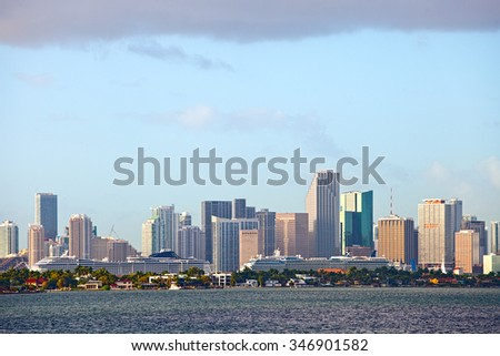 Panorama of Downtown Miami Skyline and the port  - stock photo