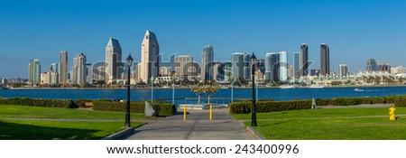 Panorama of Downtown of San Diego, California, USA - stock photo
