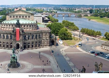 Panorama of Dresden, Germany. Semper Opera House,  Cityscape. Skyline - stock photo