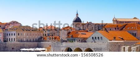 Panorama of Dubrovnik (Croatia), city on the Adriatic Sea, UNESCO World Heritage Site since 1979 - stock photo