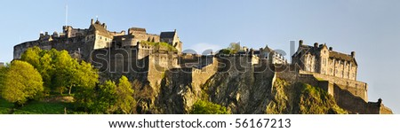 Panorama of Edinburgh castle, Scotland - stock photo