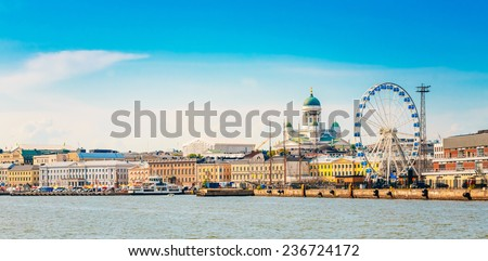 Panorama Of Embankment In Helsinki At Summer Sunset Evening, Sunrise Morning, Finland. Cityscape View From Sea - stock photo