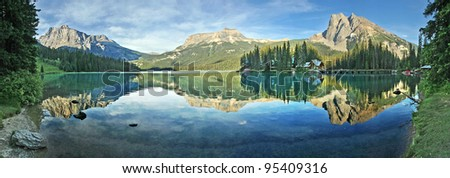 Panorama of Emerald Lake, Yoho National Park, British Columbia, Canada. - stock photo