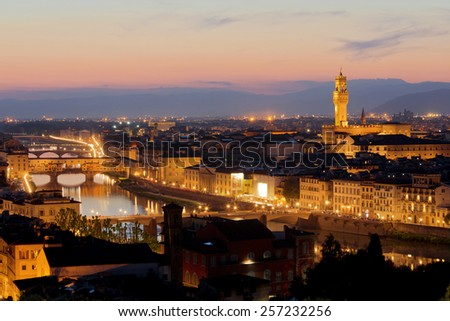 Panorama of Florence at sunset. Italy