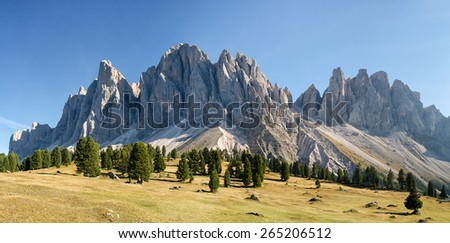 Panorama of Geisler mountains, Val di Funes, South Tyrol, Italy - stock photo