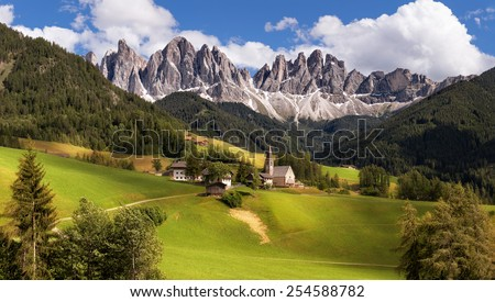 Panorama of Geisler (Odle) Dolomites Group, Val di Funes, Italy, Europe - stock photo