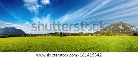 Panorama of German countryside and village. Bavaria, Germany - stock photo