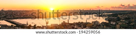Panorama of Golden Horn Gulf in Istanbul at sunset, Turkey - stock photo