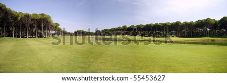 panorama of golf club, green grass - stock photo
