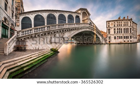 Panorama of Grand Canal and Rialto Bridge in the Morning, Venice, Italy - stock photo