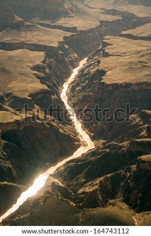 Panorama of Grand Canyon - Photography at the end of July - add color correction in post production - stock photo