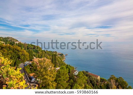 Panorama of green coast of Sicily, Italy
