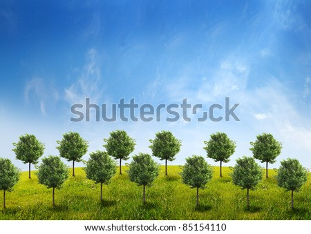Panorama of green field with a trees on blue sky background - stock photo