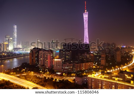 Panorama of Guangzhou at  night. - stock photo