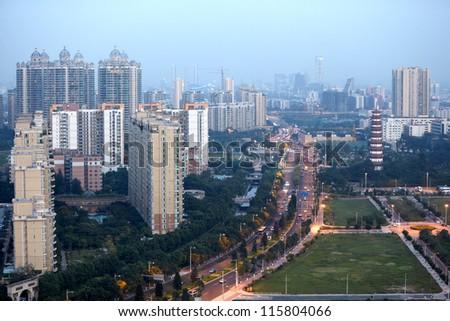 Panorama of Guangzhou, Flower Pagoda of Liurong, Jiefang North road. - stock photo