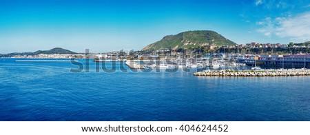 panorama of harbour of Ischia island, Italy  - stock photo