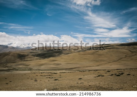 Panorama of Himalaya mountain landscape in Tibet - stock photo