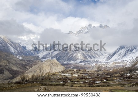 Panorama of Himalaya mountains in winter time - stock photo