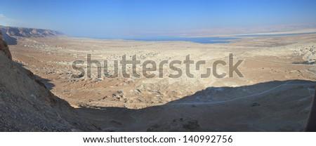 Panorama of historical site of Masada Israel  - stock photo