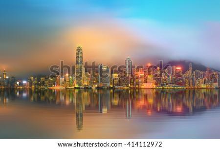 Panorama of Hong Kong and Financial district - stock photo