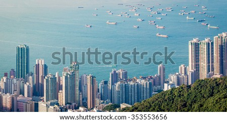 Panorama of Hong Kong Harbour in vintage tone, winter - stock photo