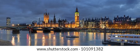 Panorama of house of Parliament London, Great Britain - stock photo