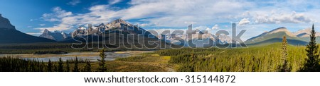 Panorama of Howse Pass, Jasper National Park, Alberta, Canada.