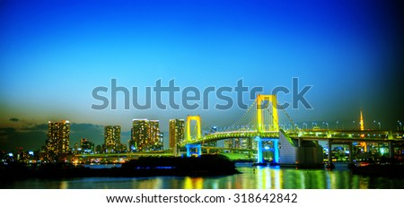 Panorama of illuminated Tokyo Night lights Concept - stock photo