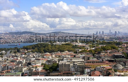 Panorama of Istanbul aerial view.