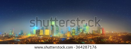 Panorama of Istanbul and Bosphorus bridge at night, Istanbul, Turkey