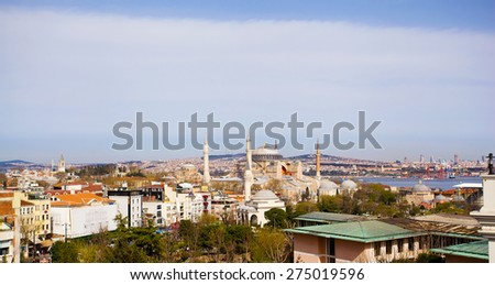 Panorama of Istanbul. View of the Blue Mosque and the Bosphorus. Turkey. - stock photo