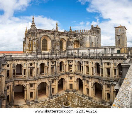 Panorama of Knights of the Templar Convents of Christ Tomar, Lisbon Portugal - stock photo