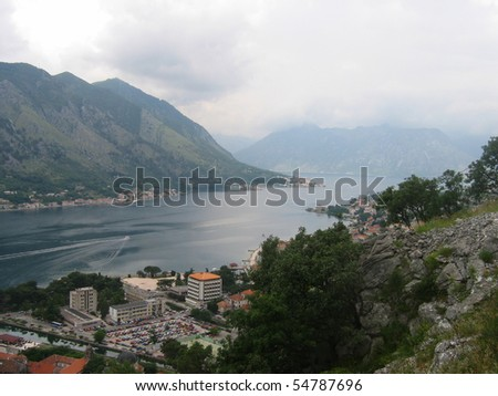 Panorama of kotor bay and kotor town in montenegro. - stock photo