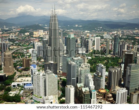 Panorama of Kuala Lumpur from a television tower - stock photo