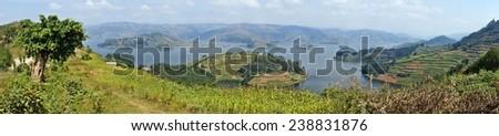 Panorama of Lake Bunyonyi in Uganda, Africa - stock photo