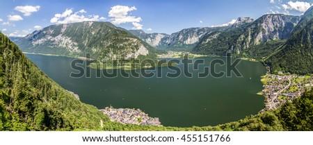 Panorama of Lake Hallstatt, Austria, World Heritage View - stock photo