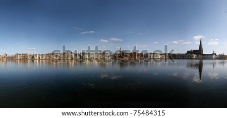 Panorama of lake Pfaffenteich in Schwerin, Germany - stock photo