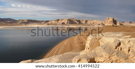 Panorama of Lake Powell in the Glen Canyon National Recreation Area - stock photo