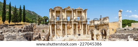 Panorama of Library of Celsus  Ephesus, Turkey - stock photo